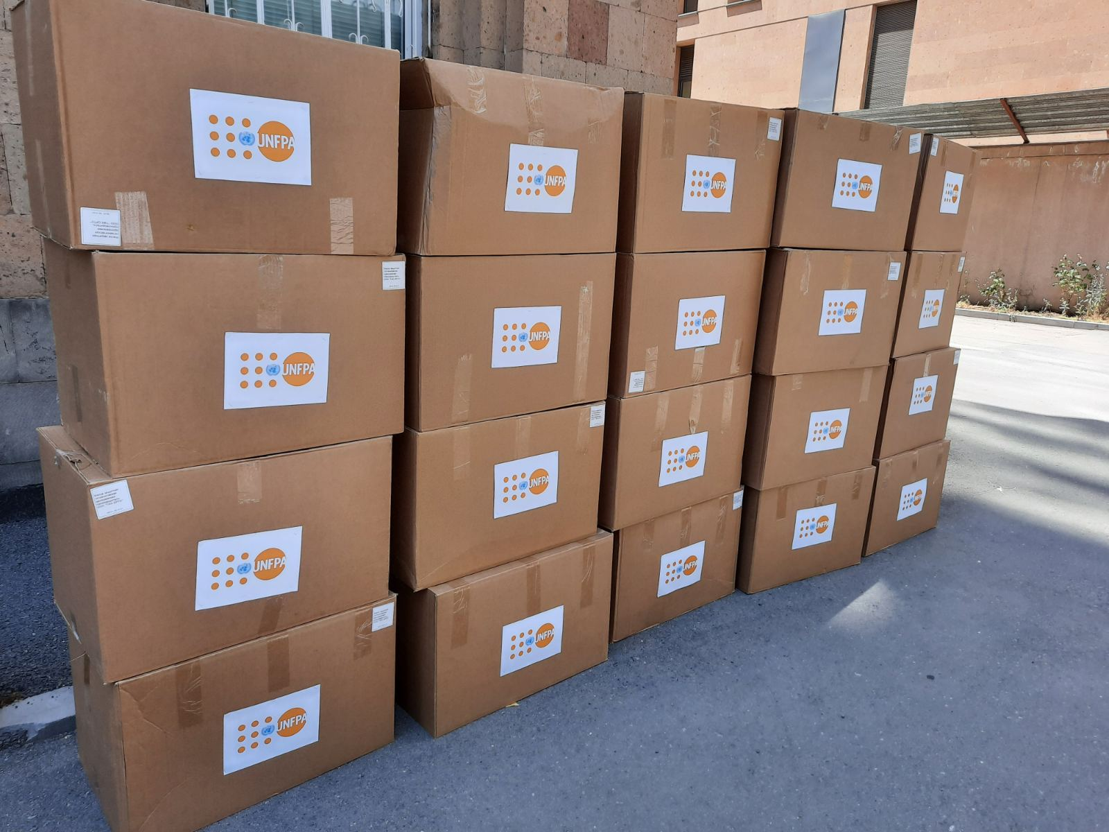 Boxes of PPE provided by UNFPA.