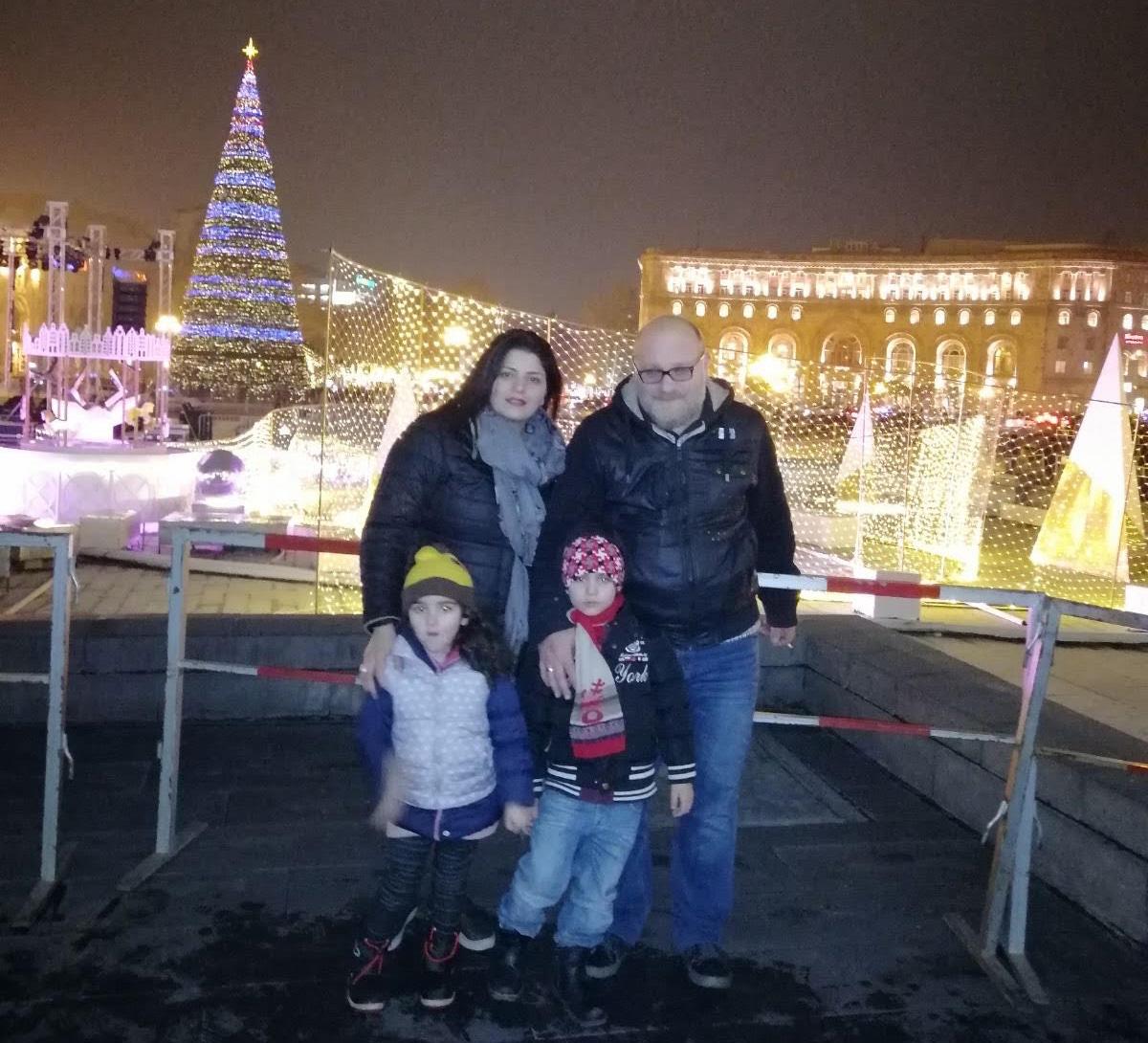 Harutyunyans at the Republic Square in Yerevan.