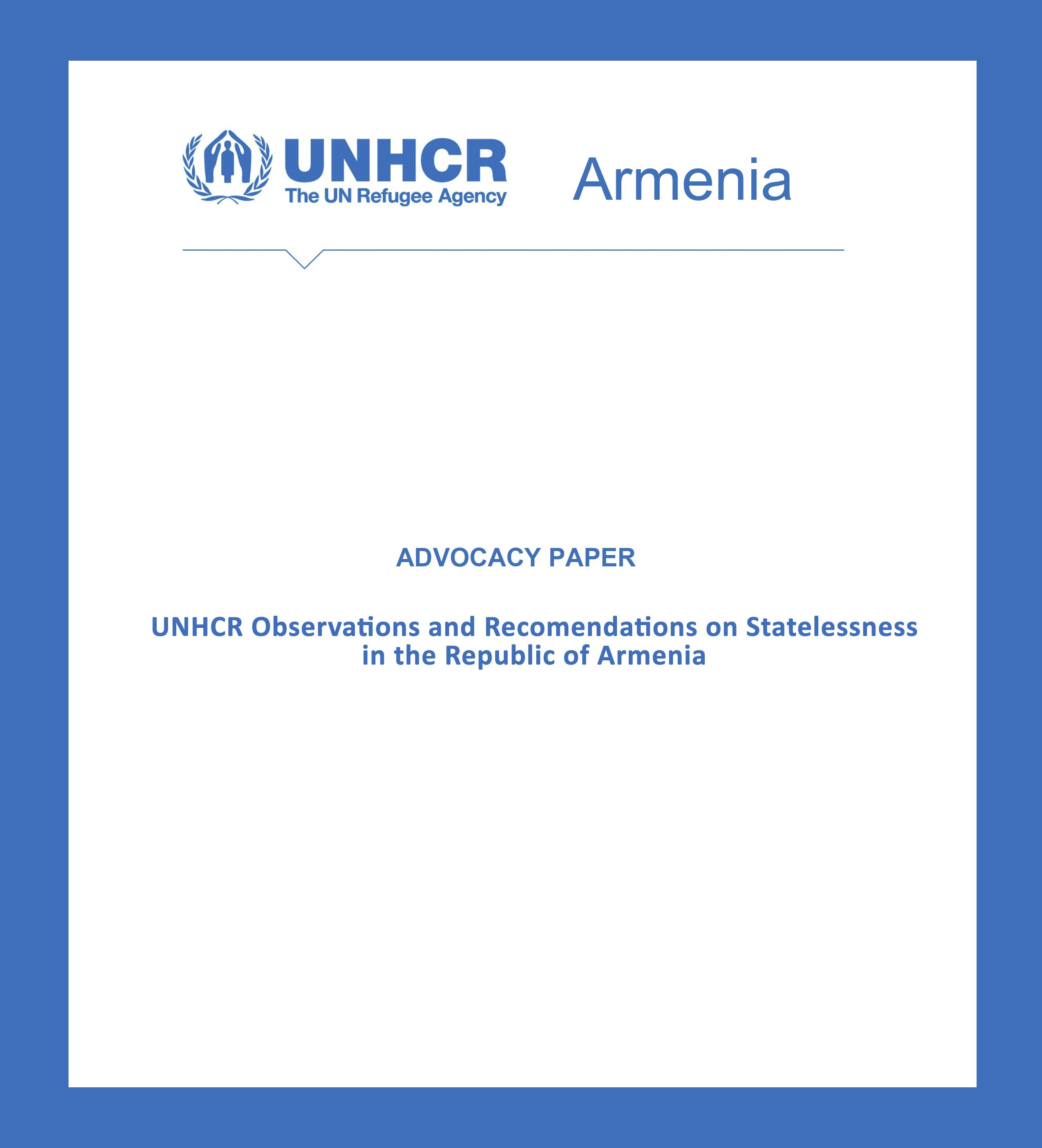 UNHCR Armenia Advocacy paper cover page