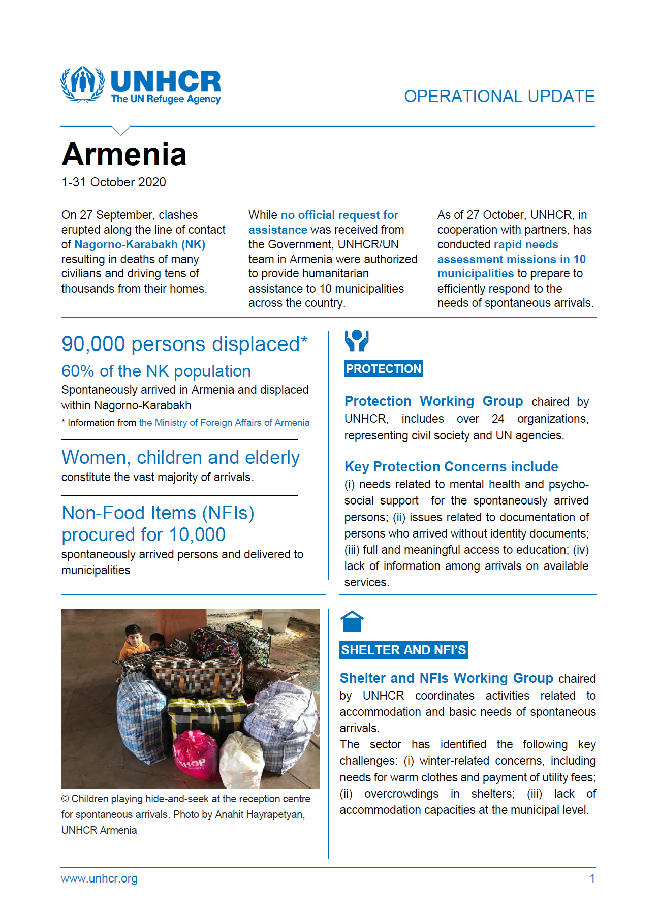 UNHCR Armenia Operational Update's cover page for October 2020.