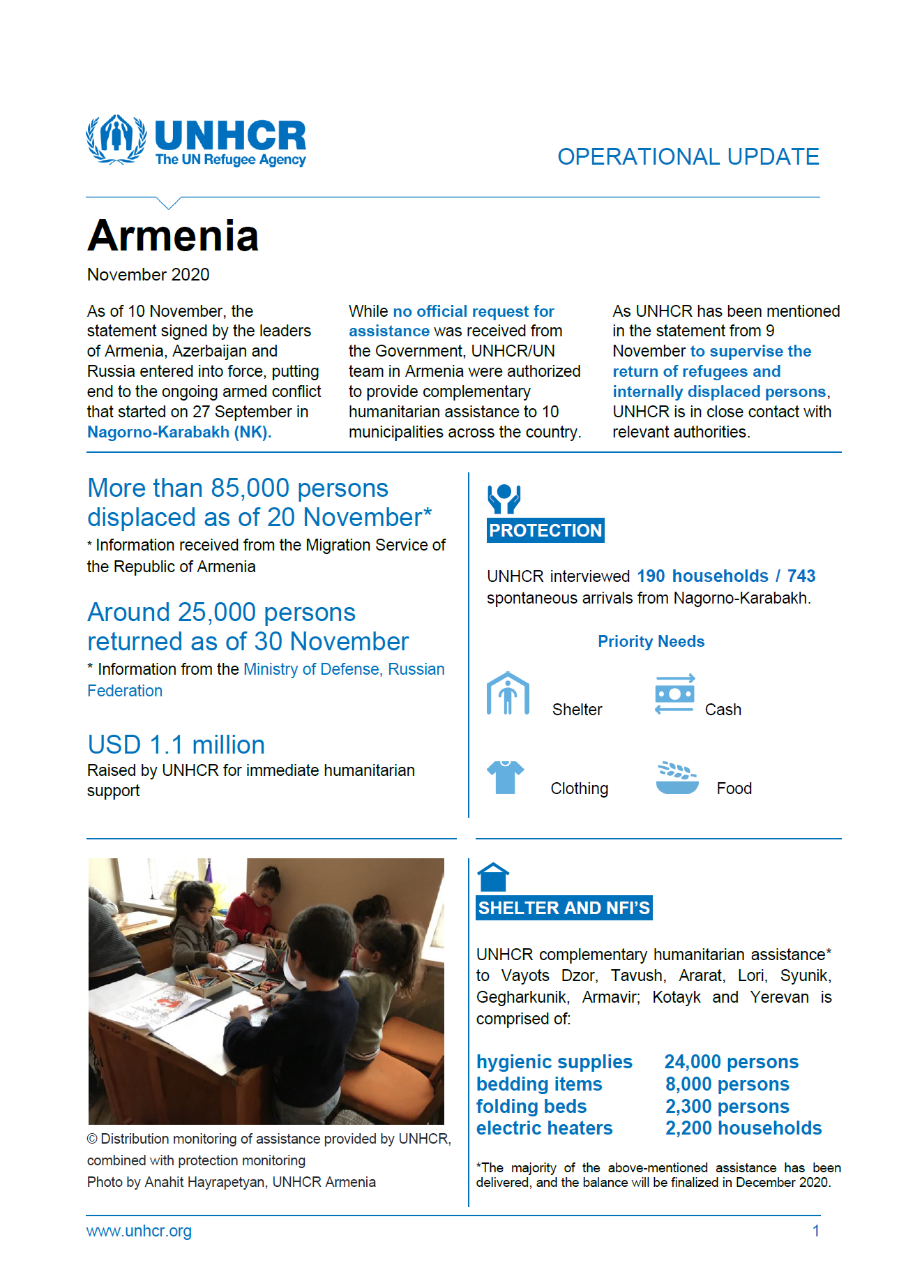 UNHCR Armenia Operational Update's cover page for November 2020.