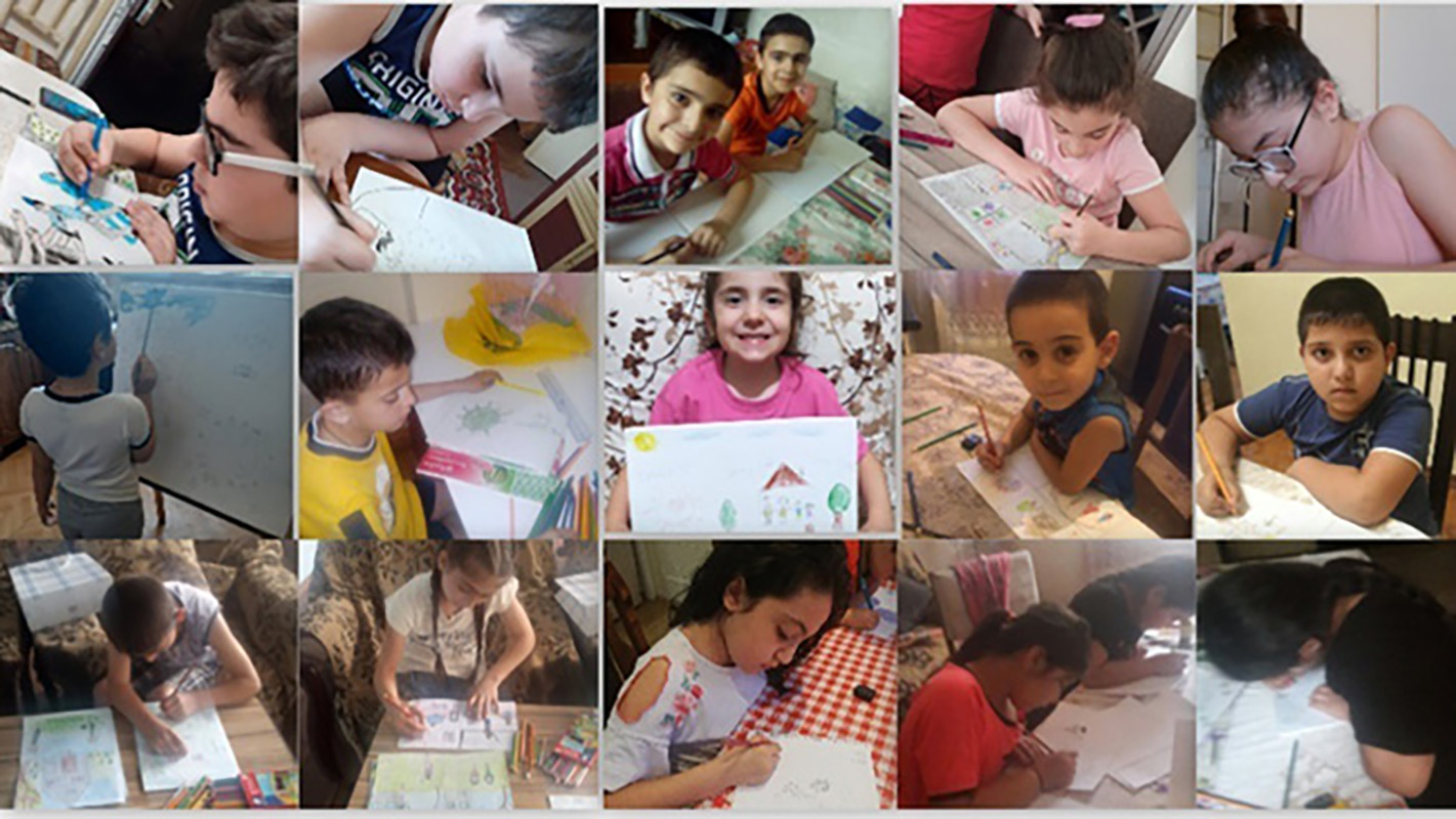 A collage of pictures of girls and boys drawing their paintings for the contest.
